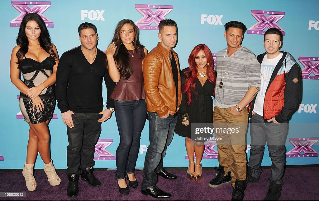 Jersey Shore cast, Jenni 'Jwoww' Farley, Ronnie Ortiz-Magro, Sammi 'Sweetheart' Giancola, Mike 'The Situation' Sorrentino, Nicole 'Snooki' Polizzi, Paul 'Pauly D' DelVecchio and Vinny Guadagnino arrive at Fox's 'The X Factor' Season Finale Night 1 at CBS Television City at CBS Studios on December 19, 2012 in Los Angeles, California.