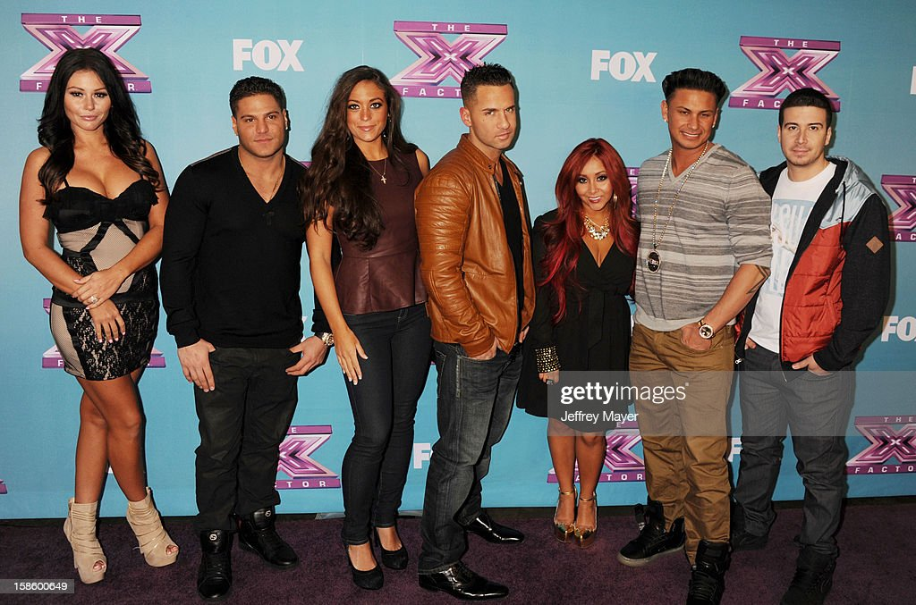 Jersey Shore cast, Jenni 'Jwoww' Farley, Ronnie Ortiz-Magro, Sammi 'Sweetheart' Giancola, Mike 'The Situation' Sorrentino, Nicole 'Snooki' Polizzi, Paul 'Pauly D' DelVecchio and <a gi-track='captionPersonalityLinkClicked' href=/galleries/search?phrase=Vinny+Guadagnino&family=editorial&specificpeople=6693900 ng-click='$event.stopPropagation()'>Vinny Guadagnino</a> arrives at Fox's 'The X Factor' Season Finale Night 1 at CBS Television City at CBS Studios on December 19, 2012 in Los Angeles, California.