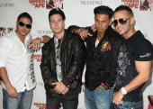 'Jersey Shore' cast members Ronnie OrtizMagro Vinny Guadagnino Paul 'Pauly D' DelVecchio and Mike 'The Situation' Sorrentino attend the MTV series...