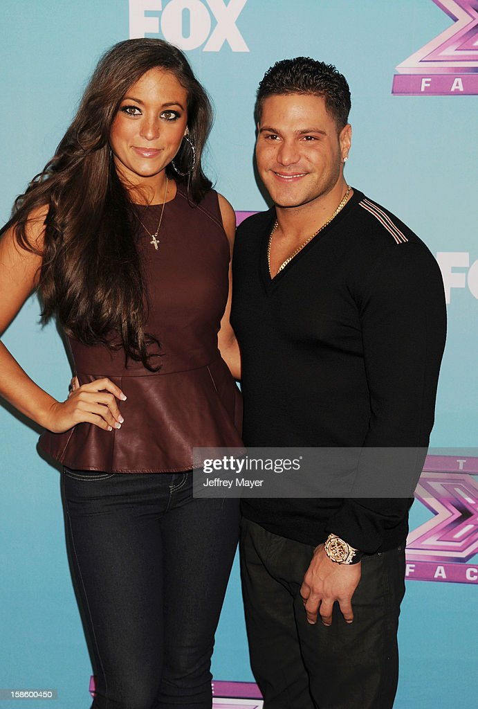 Jersey Shore cast Sammi 'Sweetheart' Giancola and Ronnie Ortiz-Magro arrive at Fox's 'The X Factor' Season Finale Night 1 at CBS Television City at CBS Studios on December 19, 2012 in Los Angeles, California.