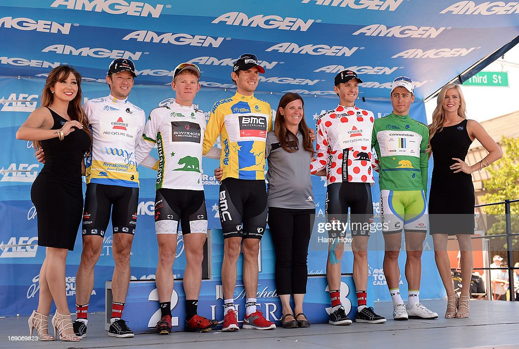 Jersey winners Jason McCartney riding for Bissell Pro Cycling most courageous rider, Lawson Craddock riding for Bontrager best young rider, Tejay van Garderen riding for BMC Racing, Carter Jones riding for Bissell Pro Cycling king of the mountains and Peter Sagan of Slovakia riding for Cannondale Pro Cycling take the podium following Stage 8 of the Tour California on May 19, 2013 in Santa Rosa, California.