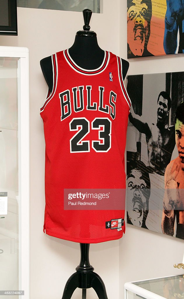 A jersey worn by athlete Michael Jordan at Julien's Auctions present The Trilogy Collection: Props and Costumes from Middle Earth, Street Art Auction and Icons and Idols: Rock n' Roll Memorabilia at Julien's Gallery on December 2, 2013 in Beverly Hills, California.