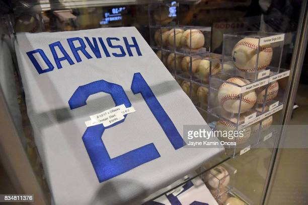 A jersey worn by Yu Darvish of the Los Angeles Dodgers for his game against the Arizona Diamondbacks is on sale for $999500 at Dodger Stadium on...