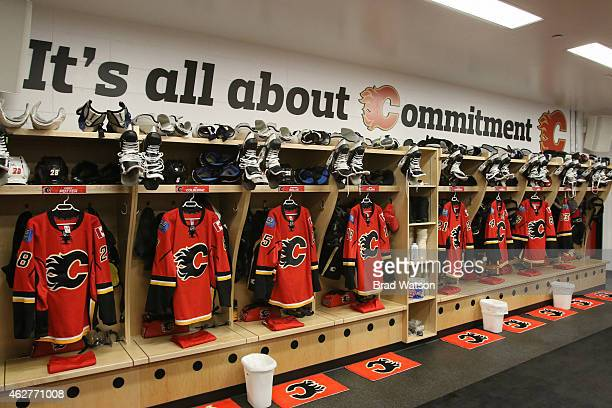 Jerseys are shown in the Calgary Flames dressing room before the start of the game against the San Jose Sharks at Scotiabank Saddledome on February 4...