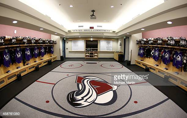 Jerseys for the NHL/NHLPA's annual Hockey Fights Cancer initiative are hung in the Colorado Avalanche locker room prior to the game against the...