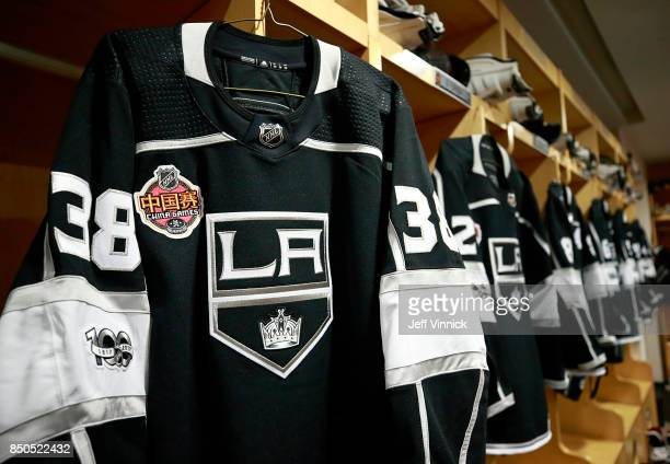 Jerseys hang in the Los Angeles Kings dressing room before their preseason game against the Vancouver Canucks at the MercedesBenz Arena September 21...