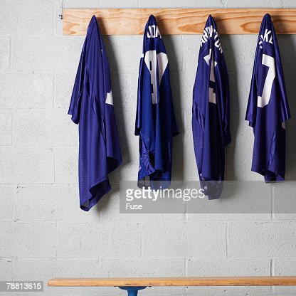 Jerseys Hanging on a Wall
