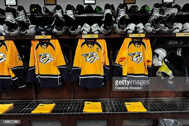 Jerseys of defenceman Kevin Klein Shea Weber and Roman Josi hang in the locker room prior to a game against the Columbus Blue Jackets at Bridgestone...
