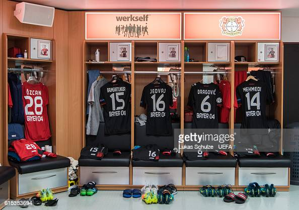Jerseys of Leverkusen are seen in their dressing room prior to the UEFA Champions League match between Bayer 04 Leverkusen and Tottenham Hotspur FC...