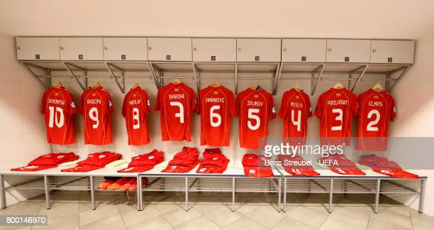 Jerseys of the team of Macedonia are pictured in their dressing room prior to the UEFA European Under21 Championship Group B match between Macedonia...