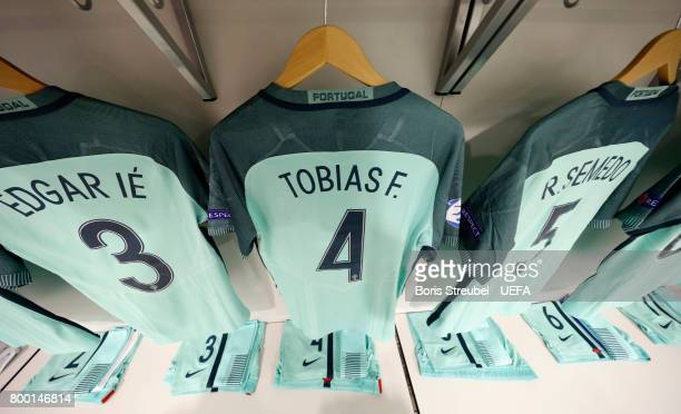Jerseys of the team of Portugal are pictured in their dressing room prior to the UEFA European Under21 Championship Group B match between Macedonia...