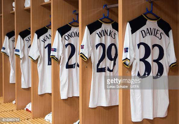 Jerseys of Tottenham are seen in their dressing room prior to the UEFA Champions League match between Bayer 04 Leverkusen and Tottenham Hotspur FC at...