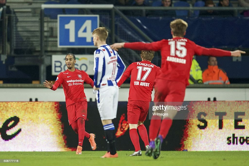 Jerson Cabral of FC Twente, Sam Larsson of sc Heerenveen, Hidde ter Avest of FC Twente, Joachim Andersen of FC Twente during the Dutch Eredivisie match between sc Heerenveen and FC Twente at Abe Lenstra Stadium on February 06, 2016 in Heerenveen, The Netherlands