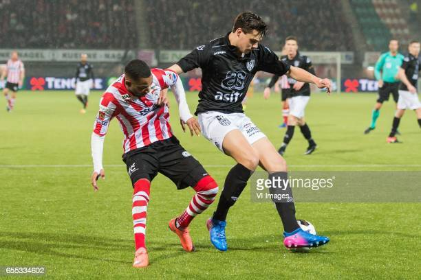 Jerson Cabral of Sparta Rotterdam Justin Hoogma of Heracles Almeloduring the Dutch Eredivisie match between Sparta Rotterdam and Heracles Almelo at...