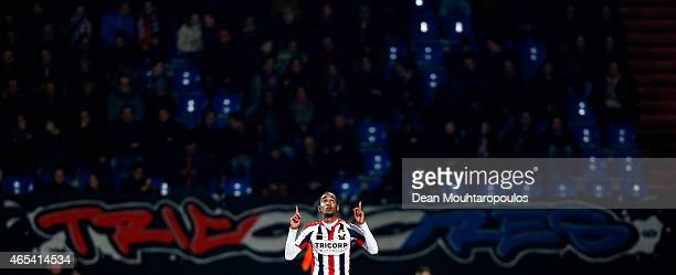 Jerson Cabral of Willem II is celebrates after he scores the second goal of the game during the Dutch Eredivisie match between Willem II Tilburg and...