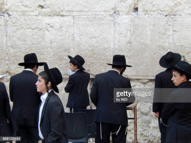 Jerusalem, a group of haredi young men at the Western / Wailing Wall