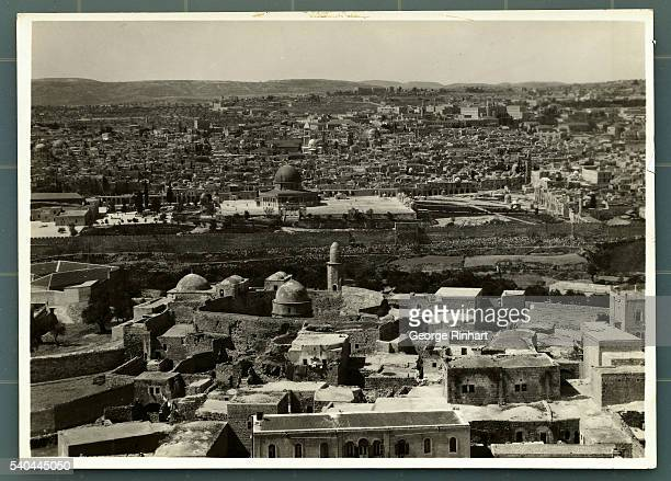 Jerusalem from the Mount of Olives In the foreground is the Chapel of the Ascension in which one sees the footprints which are supposed to be those...