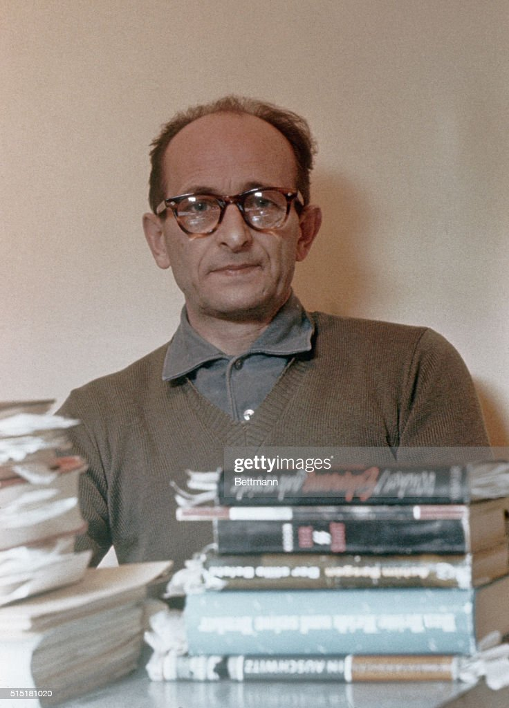 4/1961- Jerusalem, Israel- <a gi-track='captionPersonalityLinkClicked' href=/galleries/search?phrase=Adolf+Eichmann&family=editorial&specificpeople=930616 ng-click='$event.stopPropagation()'>Adolf Eichmann</a>, close-ups in Teggart Fortress prior to his removal to Jerusalem Court House.