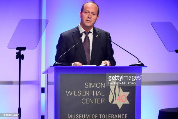 Jerusalem Mayor Nir Barkat attends The Simon Wiesenthal Center's 2017 National Tribute Dinner at The Beverly Hilton Hotel on April 5 2017 in Beverly...