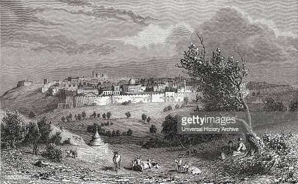 Jerusalem Palestine Seen From The Mount Of Olives In The 19Th Century From El Mundo En La Mano Published 1875