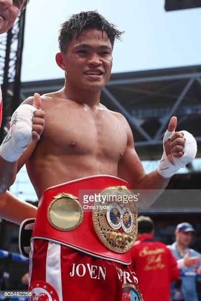 Jerwin Ancajas of the Philippines celebrates winning against Teiru Kinoshita of Japan during their IBF World Junior Bantamweight Titale ahead of the...