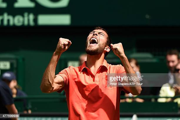 Jerzy Janowicz of Poland celebrates his win against Alejandro Falla of Colombia at the Gerry Weber Open on June 18 2015 in Halle Germany
