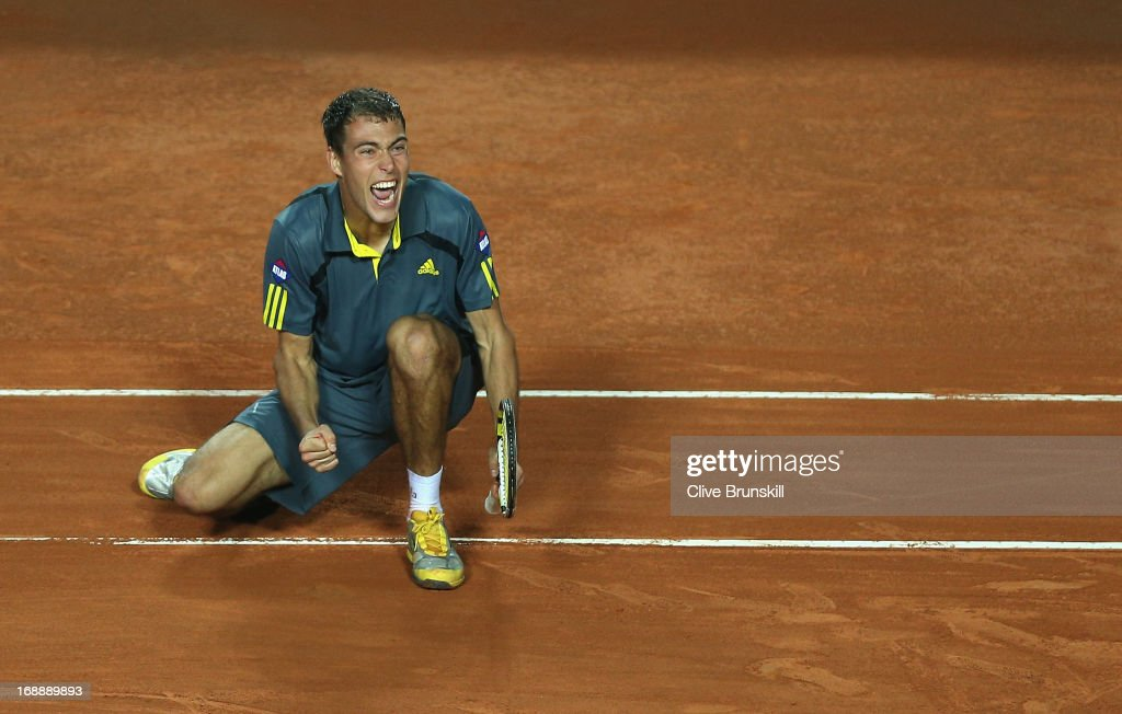 Jerzy Janowicz of Poland celebrates match point against Richard Gasquet of France in their third round match during day five of the Internazionali BNL d'Italia 2013 at the Foro Italico Tennis Centre on May 16, 2013 in Rome, Italy.