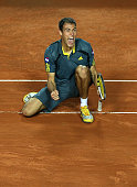 Jerzy Janowicz of Poland celebrates match point against Richard Gasquet of France in their third round match during day five of the Internazionali...
