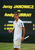 Jerzy Janowicz of Poland celebrates the first set point during the Gentlemen's Singles semifinal match against Andy Murray of Great Britain on day...