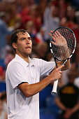 Jerzy Janowicz of Poland celebrates winning his match against Matt Ebden of Australia during day one of the 2015 Hopman Cup at Perth Arena on January...