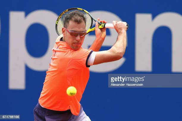 Jerzy Janowicz of Poland during his qualification match against Matthias Bachinger of Germany for the 102 BMW Open by FWU at Iphitos tennis club on...
