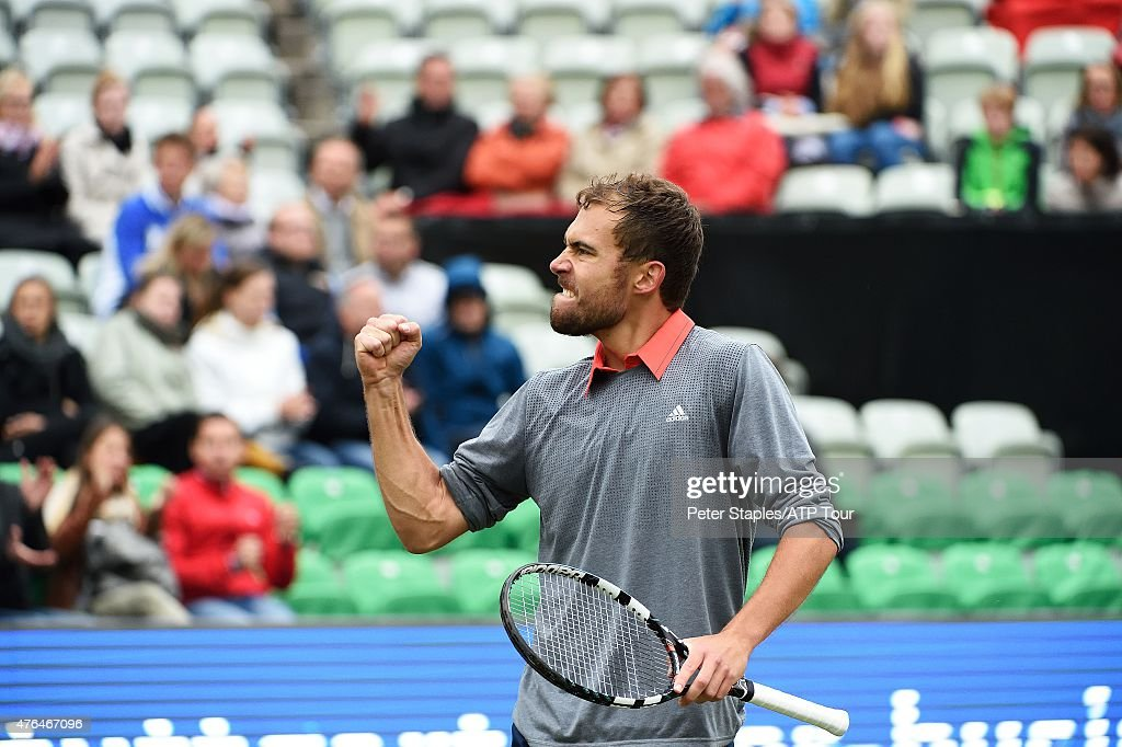 Jerzy Janowicz of Poland fist pumps in his win against Dustin Brown of Germany at the Mercedes Cup, on June 9, 2015 in Stuttgart, Germany. (Photo by Peter Staples/ATP World Tour/ATP via Getty Images).