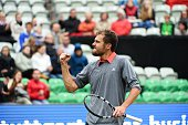 Jerzy Janowicz of Poland fist pumps in his win against Dustin Brown of Germany at the Mercedes Cup on June 9 2015 in Stuttgart Germany