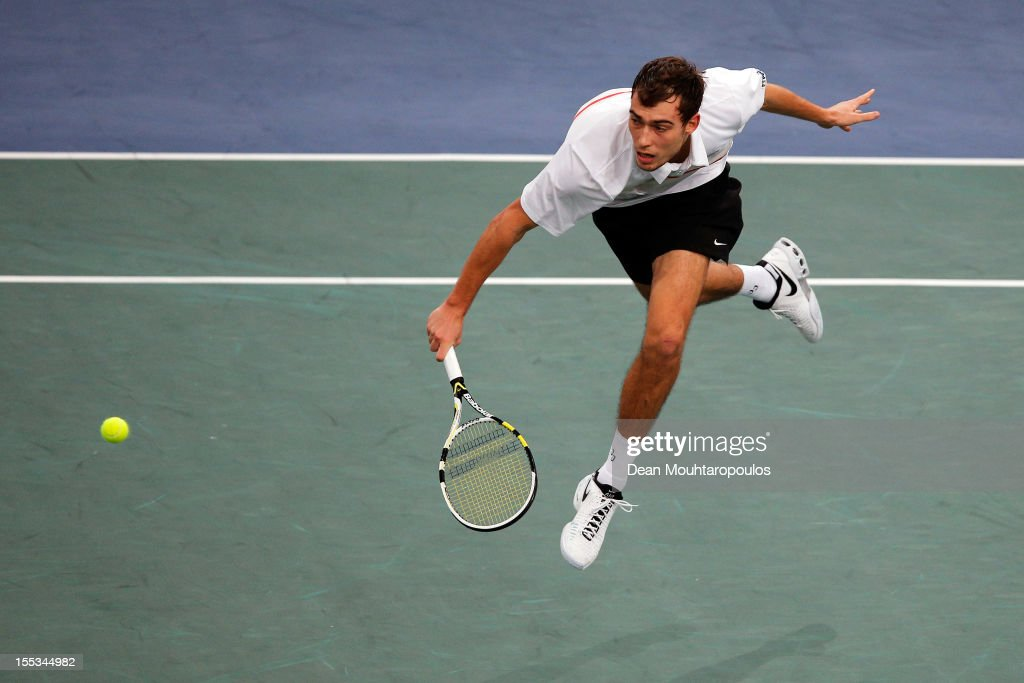 Jerzy Janowicz of Poland in action against Gilles Simon of France in their Semi Final match on day 6 of the BNP Paribas Masters at Palais Omnisports de Bercy on November 3, 2012 in Paris, France.