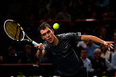 Jerzy Janowicz of Poland in action against Janko Tipsarevic of Serbia in the Quarter Finals on day 5 of the BNP Paribas Masters at Palais Omnisports...