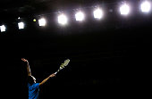 Jerzy Janowicz of Poland in action against Philipp Kohlschreiber of Germany during day 1 of the BNP Paribas Masters at Palais Omnisports de Bercy on...