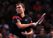 Jerzy Janowicz of Poland in action against Rafael Nadal of Spain during day four of the BNP Paribas Masters at Palais Omnisports de Bercy on October...