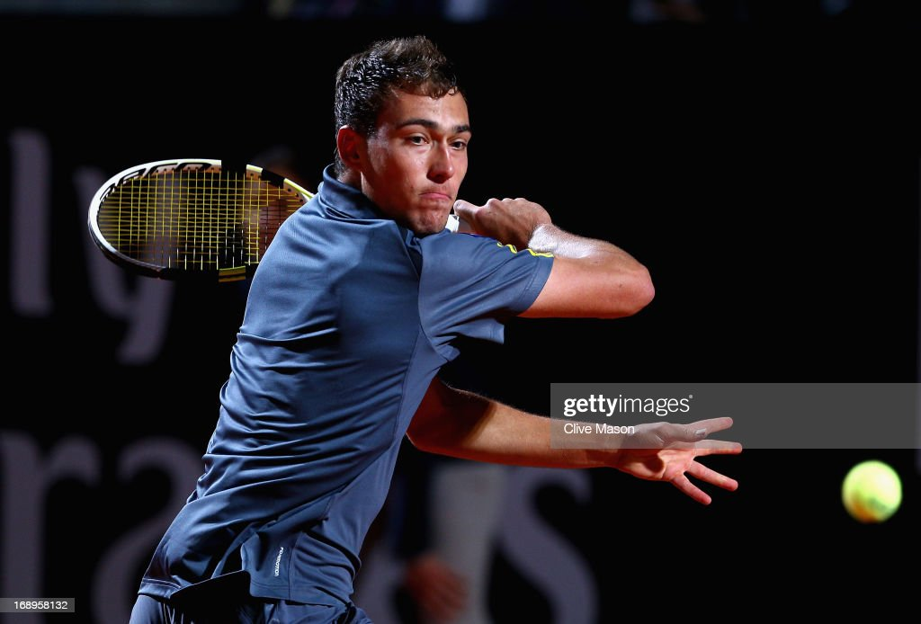 Jerzy Janowicz of Poland in action during his quarter final match against Roger Federer of Switzerland on day six of the Internazionali BNL d'Italia...