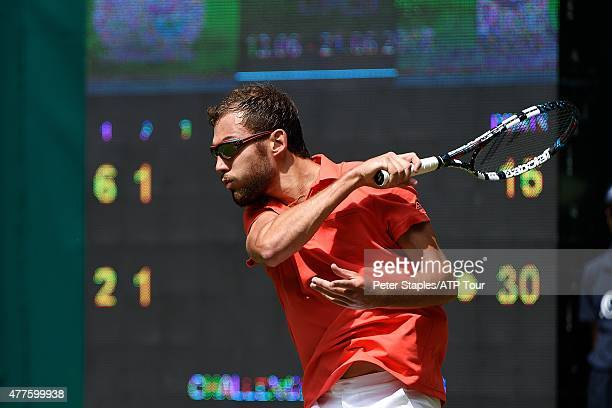 Jerzy Janowicz of Poland in action in his win against Alejandro Falla of Colombia at the Gerry Weber Open on June 18 2015 in Halle Germany