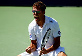 Jerzy Janowicz of Poland reacts after a point against Kevin Anderson of South Africa during their men's singles second round match on Day Five of the...