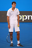 Jerzy Janowicz of Poland reacts to an Hawkeye decision in the mens singles finals match against John Isner of the United States during day seven of...