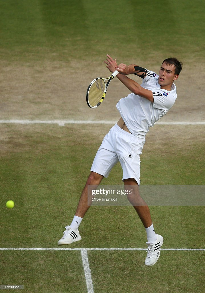 Jerzy Janowicz of Poland smashes the ball during the Gentlemen's Singles semi-final match against Andy Murray of Great Britain on day eleven of the Wimbledon Lawn Tennis Championships at the All England Lawn Tennis and Croquet Club on July 5, 2013 in London, England.