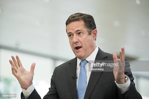 Jes Staley chief executive officer of Barclays Plc gestures whilst speaking during a Bloomberg Television interview at the European financial...