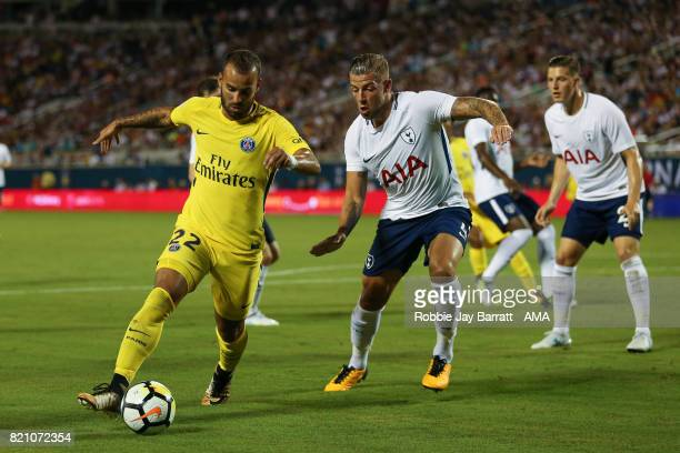 Jese of Paris SaintGermain and Toby Alderweireld of Tottenham Hotspur during the International Champions Cup match between Paris SaintGermain and...