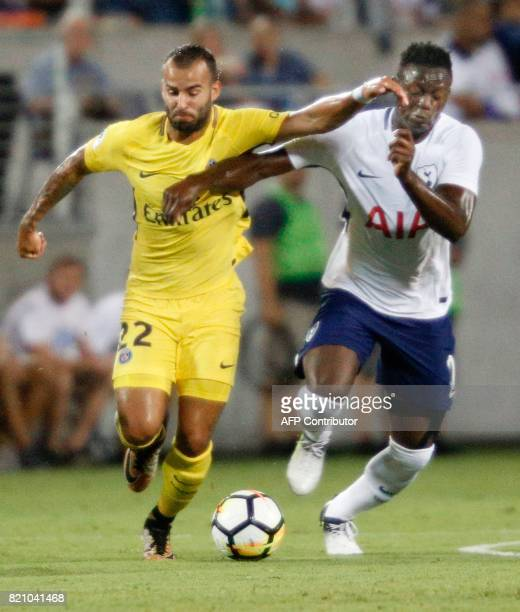 Jese of Paris SaintGermain is challenged by Victor Wanyama of Tottenham Hotspur defends during the second half of their international friendly match...