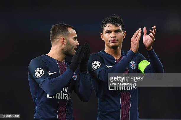 Jese of PSG and Thiago Silva of PSG shows appreciation to the fans after the final whistle during the UEFA Champions League Group A match between...