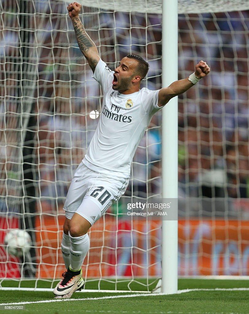 Jese of Real Madrid celebrates after Gareth Bale of Real Madrid scores to make it 1-0 during the UEFA Champions League Semi Final second leg match between Real Madrid and Manchester City FC at Estadio Santiago Bernabeu on May 4, 2016 in Madrid, Spain.