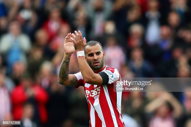 Jese of Stoke City applauds the supporters as he leaves the field after being substituted during the Premier League match between Stoke City and...