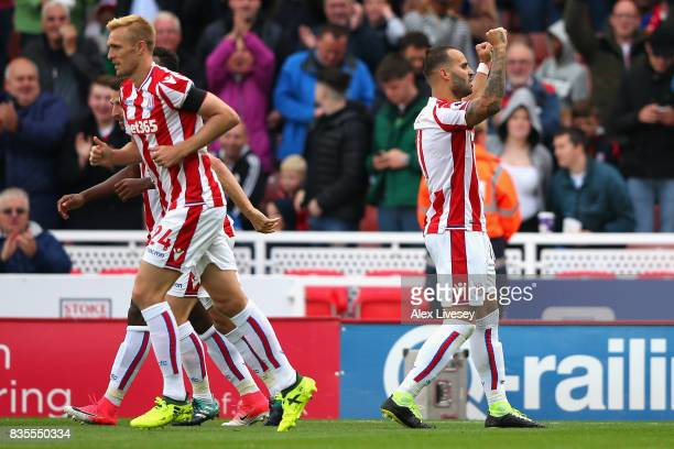 Jese of Stoke City celebrates scoring his sides first goal during the Premier League match between Stoke City and Arsenal at Bet365 Stadium on August...