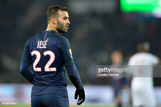 Jese Rodriguez of Paris SaintGermain reacts during the French League Cup match between Paris SaintGermain and Lille LOSC on December 14 2016 in Paris...